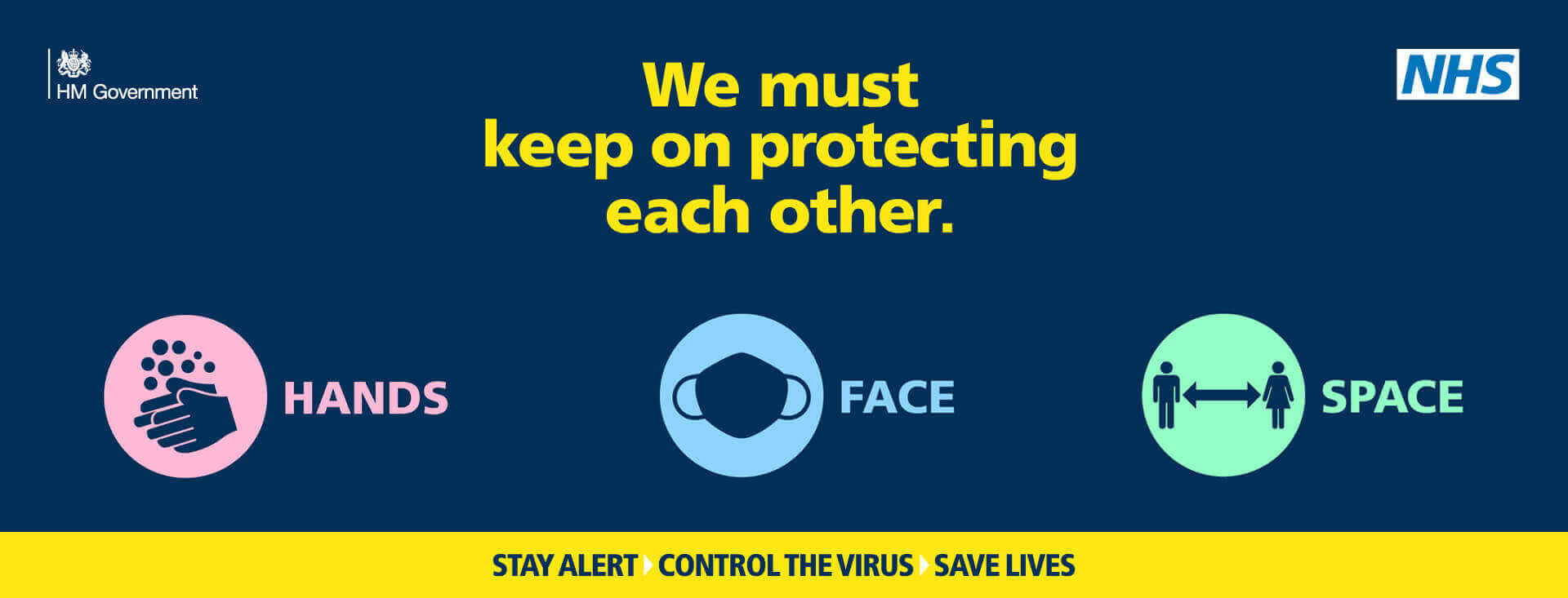 PHE resources banner - Stay alert, Control the Virus, Save lives